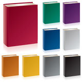 Books. A group of hardcover books in traditional colors with the spine, cover, endband, and top edge visible Stock Images