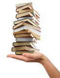 Books on hand. Making the stack stock images