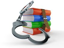 Books with handcuffs. Isolated on white background. 3d illustration Stock Photos