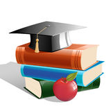 Books with hat and apple royalty free illustration