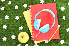 Books, headphones and apple on a grass with daisy flowers Stock Image