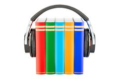 Books with headphones, audiobook concept. 3D rendering. Isolated on white background Stock Photo