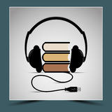 Books and headphones - to represent the composition. Listening to audiobooks Stock Illustration