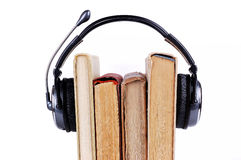 Books in headsets Stock Image