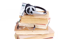 Books and headsets Stock Photo