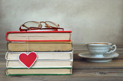 Books and heart shaped bookmark Stock Photography