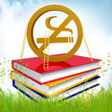 Books about how to quit smoking. 3d icon symbol Royalty Free Stock Photography