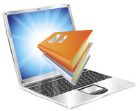 Books icon laptop concept Stock Photography