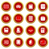 Books icon red circle set Royalty Free Stock Photo