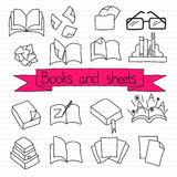 Books icon set. Hand drawn set of reading icons: book, stack of book, paper, document, glasses, folder, open book, bookshelf Stock Photo