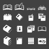 Books icon set Stock Photos