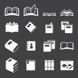 Books icon set Stock Photos