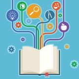 Books and icons of science. The concept of modern education royalty free illustration