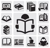 Books icons set Stock Image