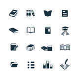 Books icons set Stock Photos