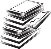 Books illustration. A black and white illustration of a stack of books Stock Photo
