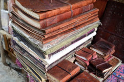 Books, India. Old leather covered books and notebooks in jaisalmer bazaar Royalty Free Stock Photography