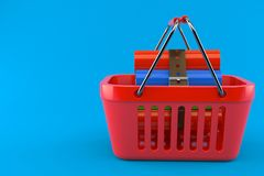 Books inside shopping basket. Isolated on blue background. 3d illustration Stock Images