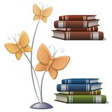 Books and interior decor butterflies. Vector Royalty Free Stock Photo