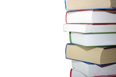 Books isolated on white background. Stack of different books isolated on white background. Clipping path Stock Image