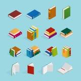 Books Isometric Icons Set vector illustration