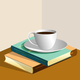 books kaffekoppen Royaltyfri Fotografi