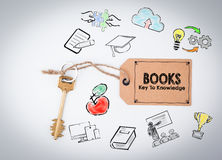 Books, key to knowledge. Key on a white background Royalty Free Stock Images