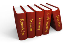 Books of knowledge. Five books with education related titles Stock Image