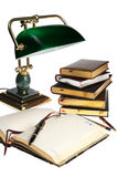 Books and lamp Stock Photography