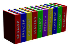 Books languages isolated on white background Royalty Free Stock Photos