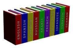 Books languages isolated on white background. Books languages,  isolated on white background Royalty Free Stock Photos