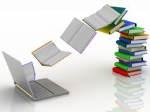 Books and laptop Stock Photos
