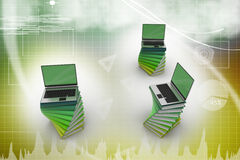 Books and laptop. On color background Stock Image