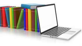 Books and a laptop, education concept. 3d illustration Royalty Free Stock Photography