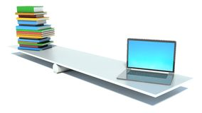 Books and laptop on scales Royalty Free Stock Photos