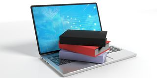 Books on a laptop on white background. 3d illustration Royalty Free Stock Photo