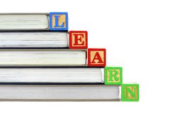 Books and LEARN blocks Stock Photography