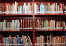 Books in library. Background in front of bookshelves Royalty Free Stock Photo