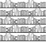 Books library. Black and white books in a library Stock Photo