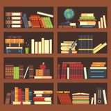 Books in library bookcase. Encyclopedia book at bookshelf. Pile textbooks and magazines at bookshelves vector background. Books in library bookcase. Encyclopedia stock illustration
