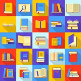 Books library education icons set, flat style. Books library education icons set. Flat illustration of 25 books library education vector icons for web Royalty Free Stock Photography