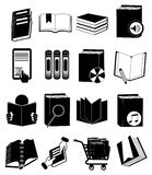 Books library icons set Stock Image