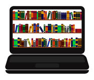 Books library on laptop screen Royalty Free Stock Photos