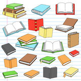 Books Library Reading Notebook Doodles Set Stock Photos