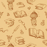 Books library seamless pattern. Reading background Stock Image