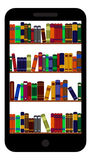 Books library on smartphone screen Royalty Free Stock Images