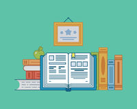 Books on a light blue background Royalty Free Stock Photo