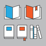 Books line icons in flat style. Books concept logo Royalty Free Stock Image