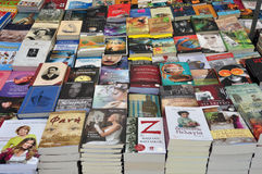 Books literature. ATHENS, GREECE - AUGUST 14, 2014: Best sellers and literature books on sale at street market Stock Photos