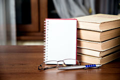 Books literature. Literature books, white sheet of notebook Stock Photography